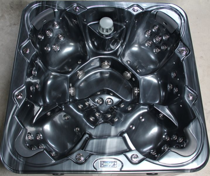 SATURN HOT TUB SPA - 7 SEATER, 2 RECLINERS, LUCITE SHELL, BALBOA CONTROLS IN BLACK MARBLE